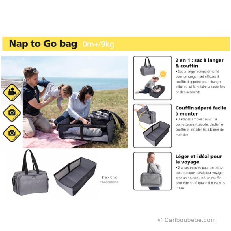 Sac à Langer 2en1 Nap To Go Bag Black Chic Safety