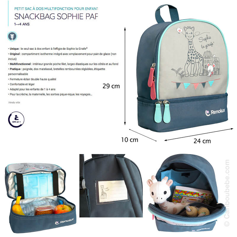 Sac à Goûter Isotherme Snackbag Sophie La Girafe Paris Bleu Renolux