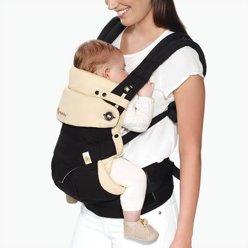 Porte-bébé Ventral Pack Évolutif 360 4 Positions Noir&Beige2 Ergobaby