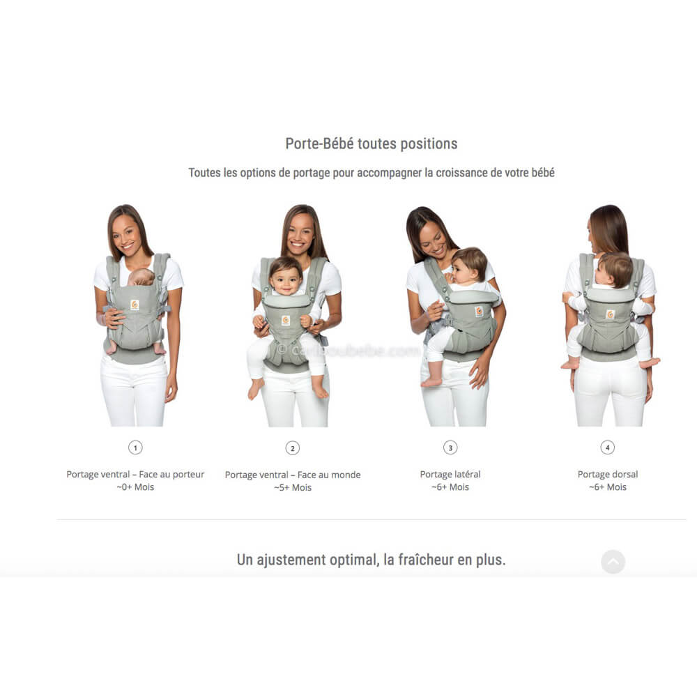 Porte-bébé Omni 360 Cool Air Mesh 4 positions Ergobaby