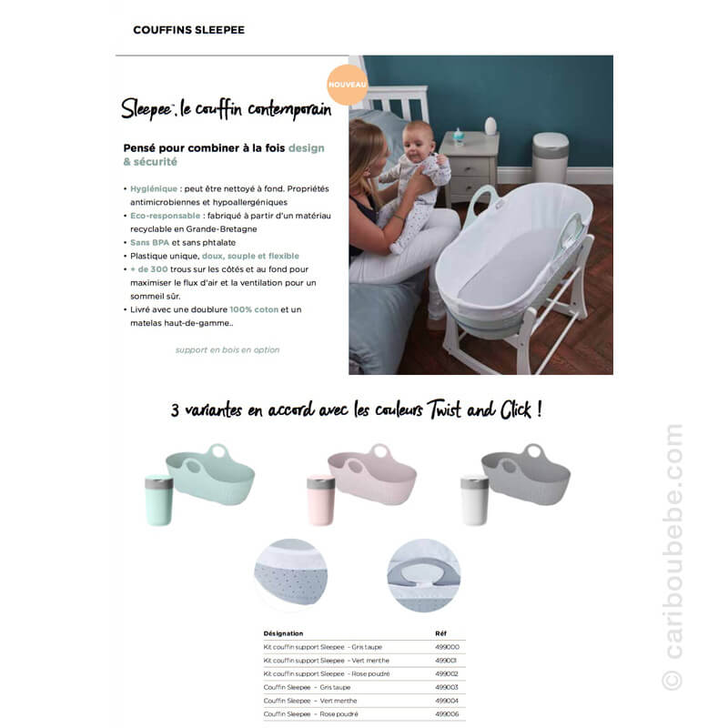 Kits Couffin et Support Gris, Rose ou Vert Sleepee Tommee Tippee