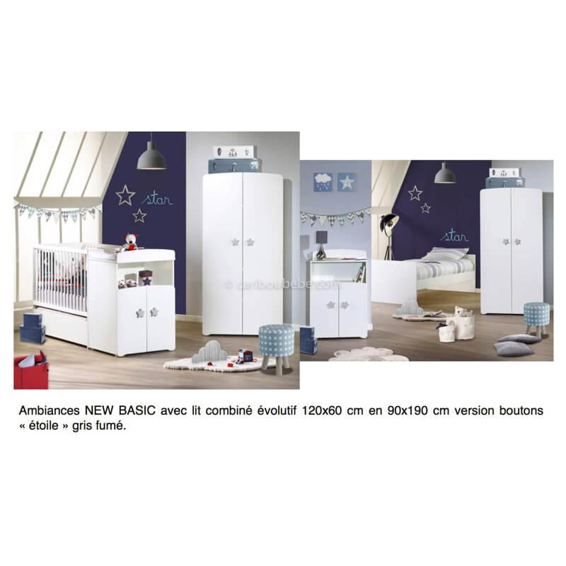 Chambre New Basic Lit Combiné Évolutif 120x60cm En 90x190cm Boutons Étoile Gris Sauthon Baby Price