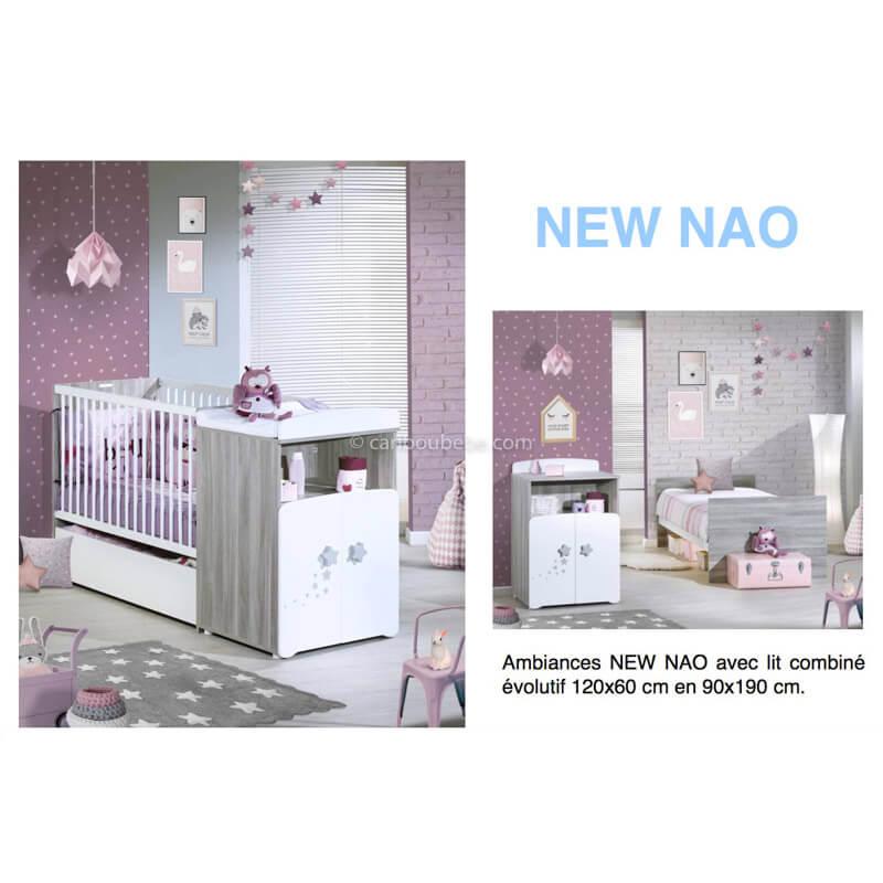 Chambre New Nao Lit Combiné Évolutif 120x60cm En 90x190cm Sauthon Baby Price