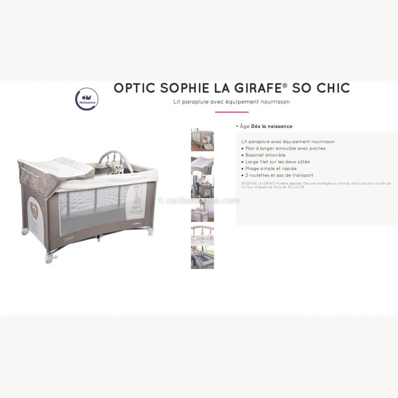 Lits Parapluie Optic Sophie La Girafe Renolux