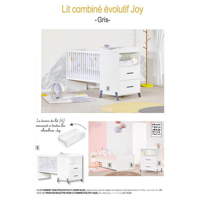 Chambre Lit combiné évolutif Joy Gris Sauthon Baby Price