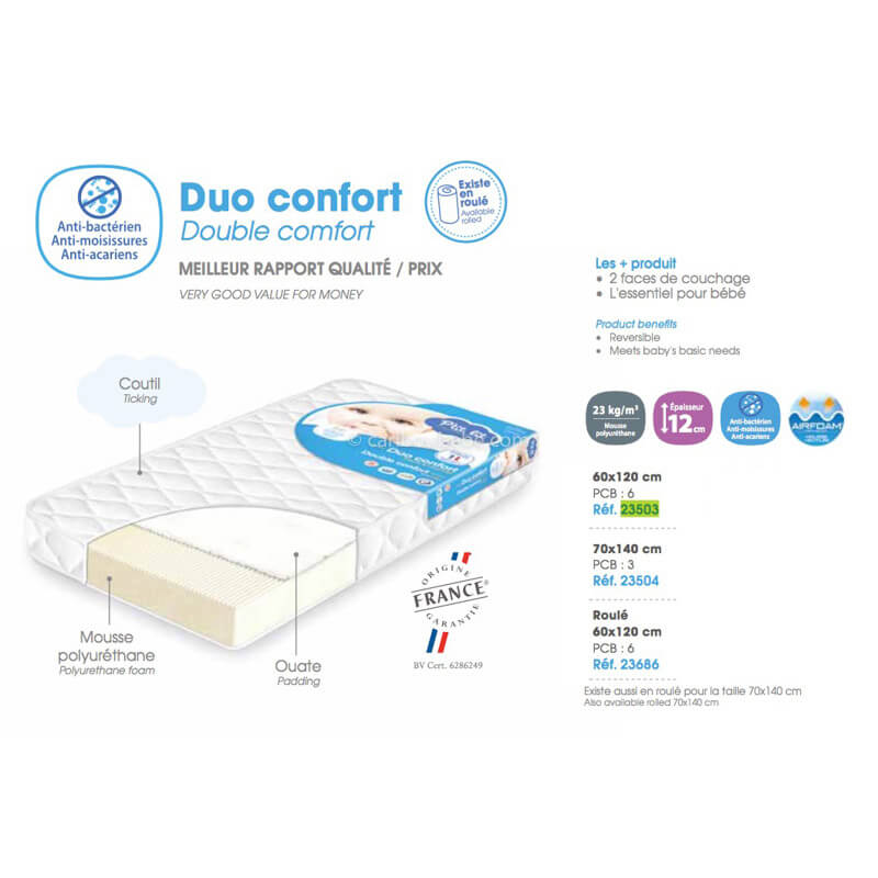 Matelas Duo Confort 60ou70x120x12cm Ptit Lit