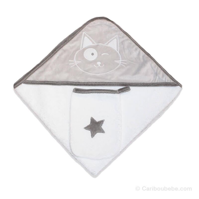 Sortie de bain + Gant Star Gris Les Chatounets