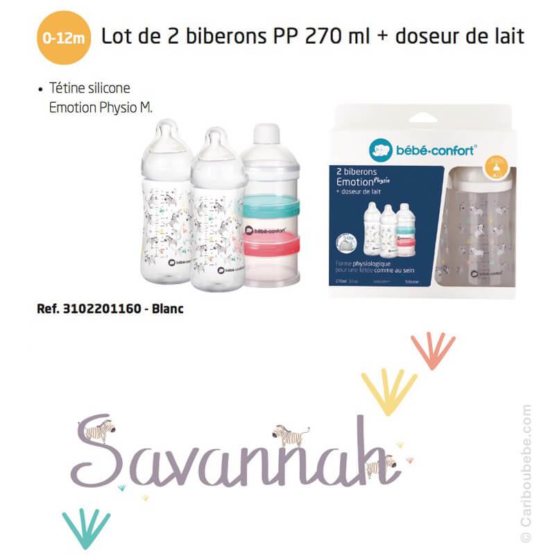 Lot de 2 Biberons Émotion PP 270ml Savannah & Doseur de Lait Bébé Confort