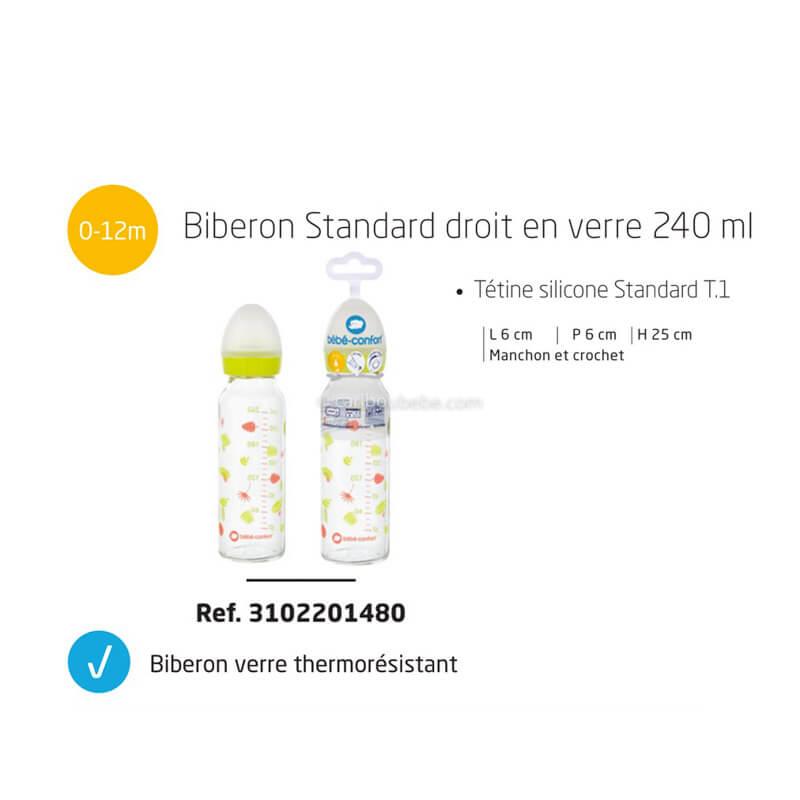 Biberon Droit en Verre 240ml Tétine Silicone T1 0-12M Jungle Vibes Bébé Confort