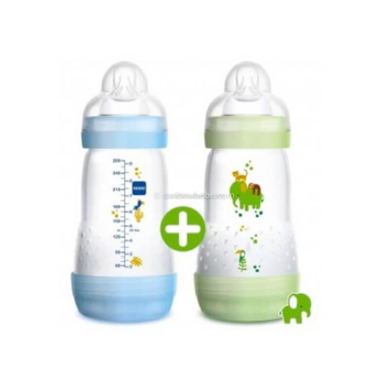Biberon Easy Start Anti Colique 260ml Bleu et Vert Mam Baby