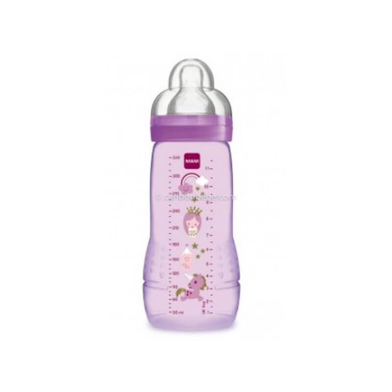Biberon Easy Active 2ème Age Coloré 330ml Rose Fille Mam Baby