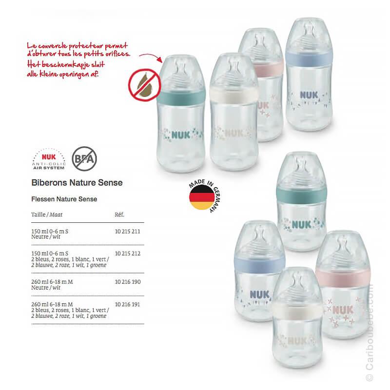 Biberons PP Nature Sense 150-260ml Nuk