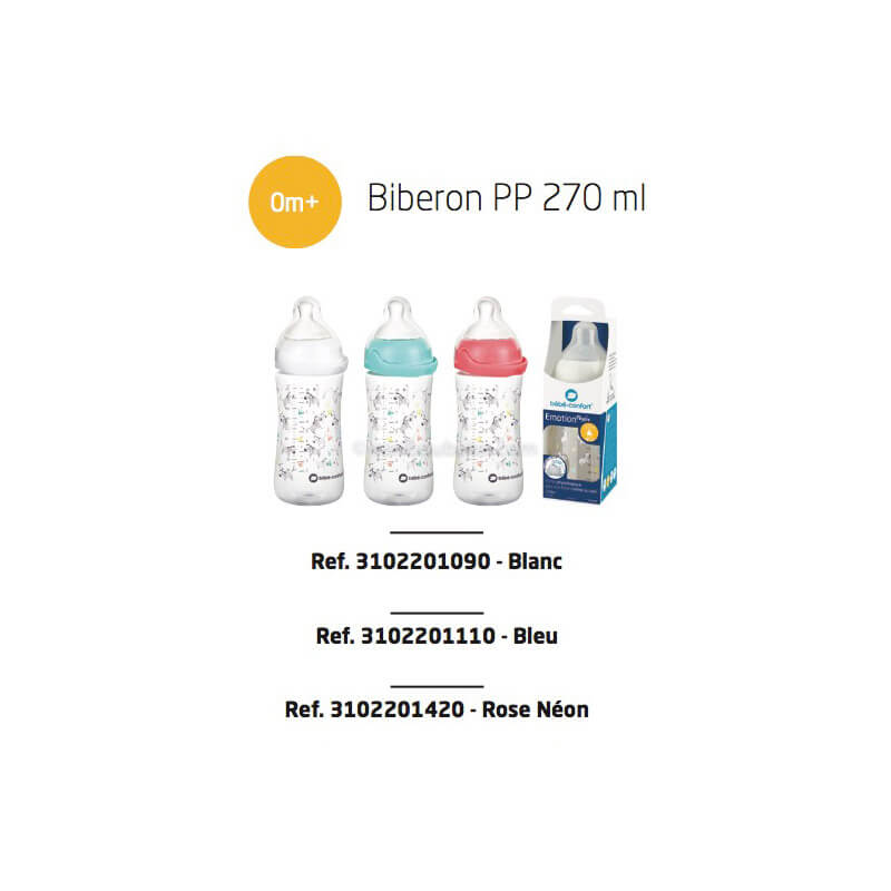 Biberons Émotion PP 270ml Blanc, Bleu ou Rose Tétine Silicone T1 Sweet Bunny 0-12M Bébé Confort