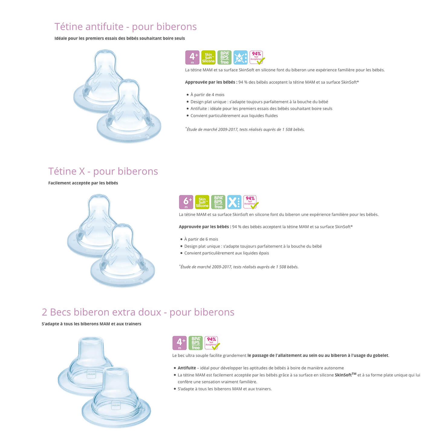 Tétines Silicone Mam Baby