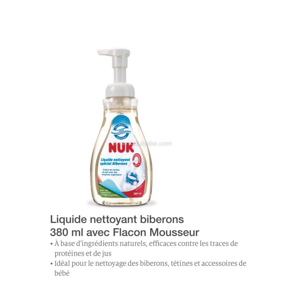 Liquide Nettoyant Biberon 380ml avec Flacon Mousseur Nuk