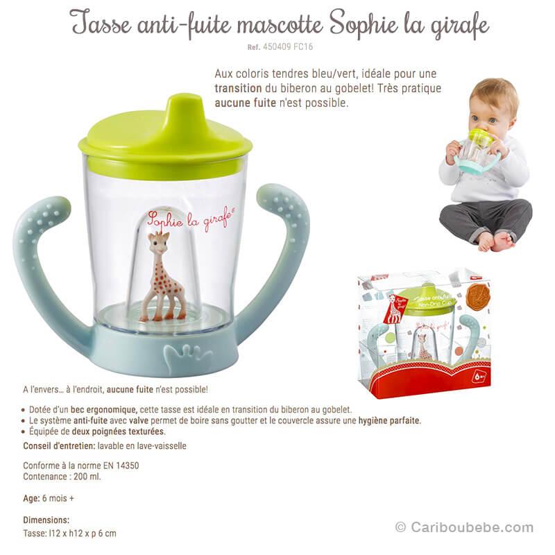 Tasse Anti-Fuite Mascotte 200ml 6M Sophie La Girafe