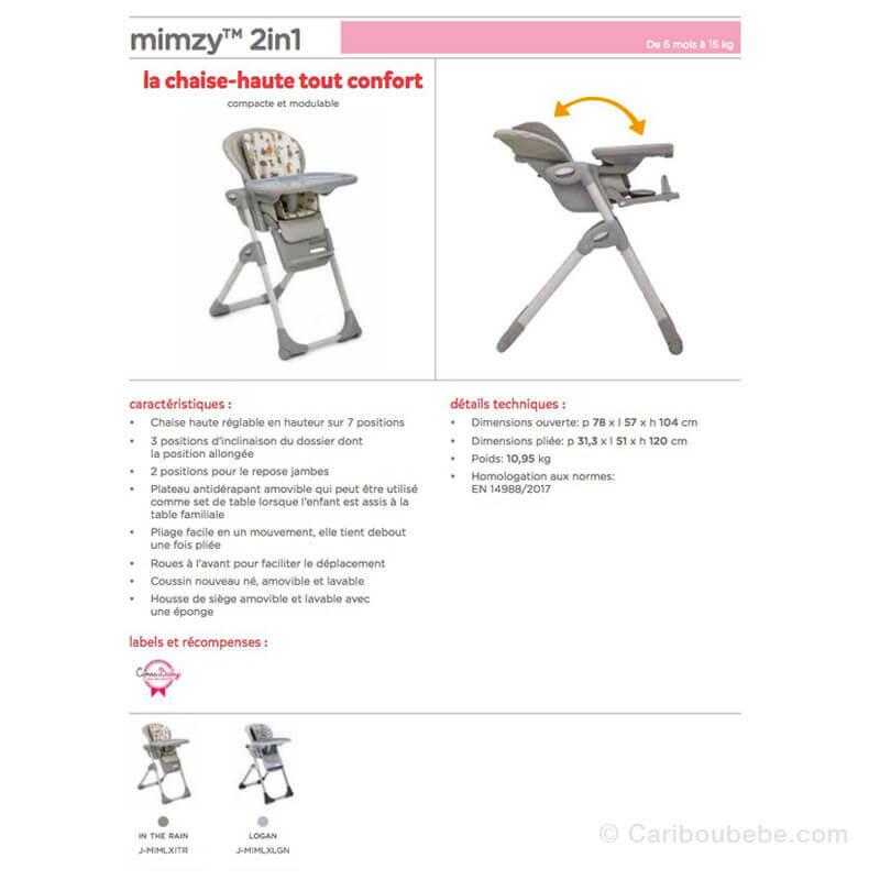 Chaises Haute Évolutive Mimzy 2en1 Joie
