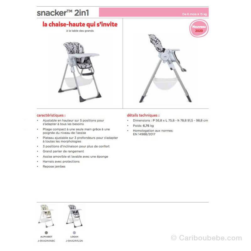 Chaises Haute Évolutive Snacker 2en1 Joie
