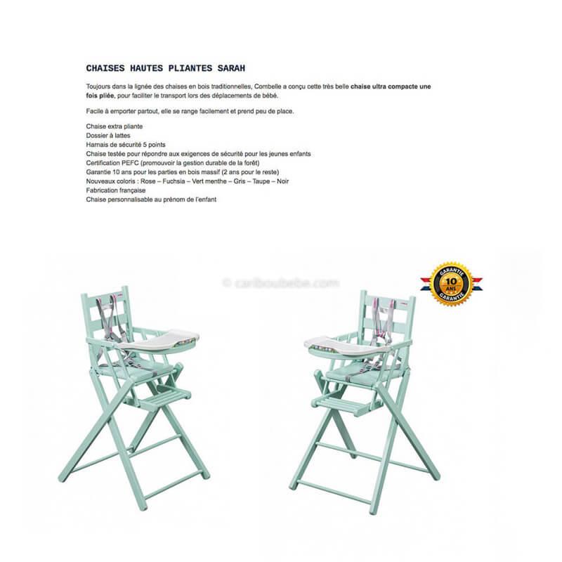 Chaise Haute Sarah Pliante Laqué Vert Mint 6M à 3A Combelle