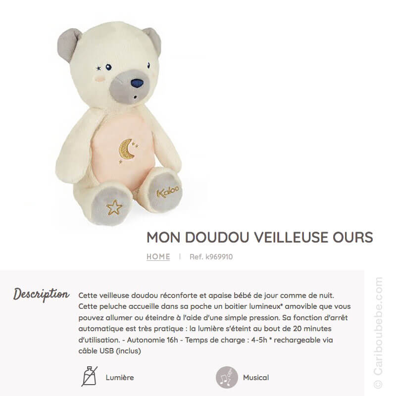 Mon Doudou Veilleuse Ours +0 Kaloo