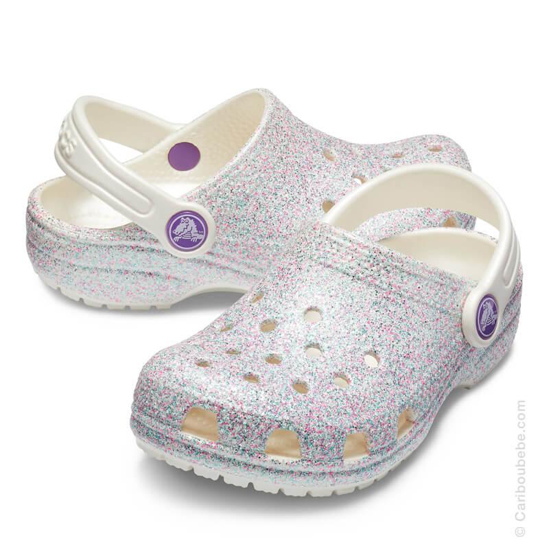 Crocs Kids Classic Glitter Clog Oyster Crocs