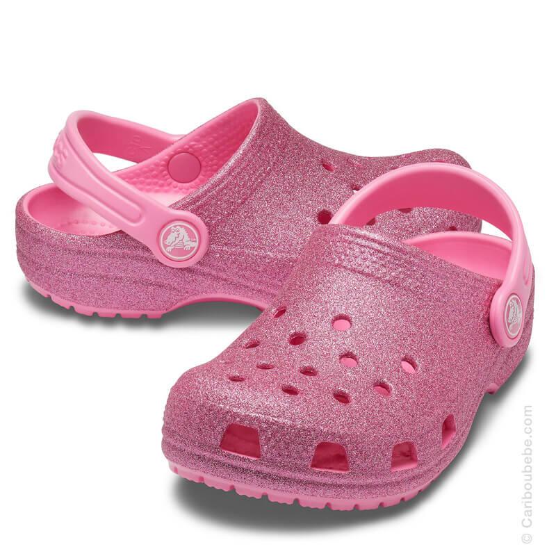 Crocs Kids Classic Glitter Clog Pink Lemonade Crocs