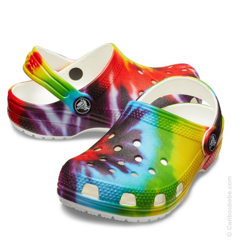 Crocs Kids Classic Tie Dye Graphic Clog Multicolore Crocs