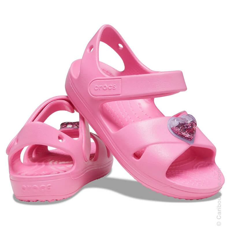 Crocs Kids Classic Cross Strap Charm Sandal Pink Lemonade Crocs