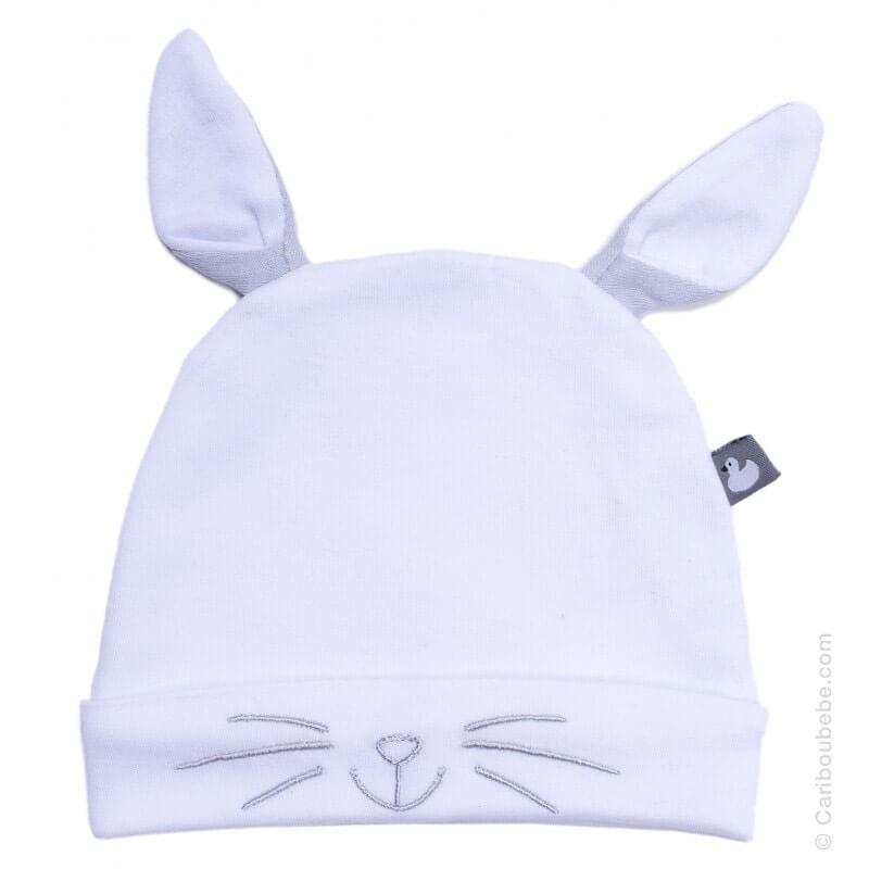 Bonnet naissance Petit Lapin avec Oreilles Blanc/Gris Coton BB&Co