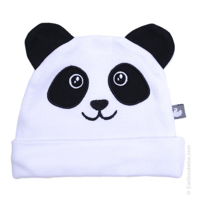 Bonnet naissance Petit Panda avec Oreilles Blanc/Noir Coton BB&Co