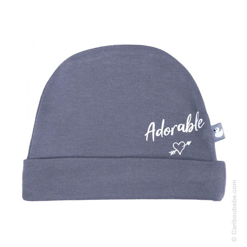 Bonnet naissance Adorable Anthracite Coton BB&Co