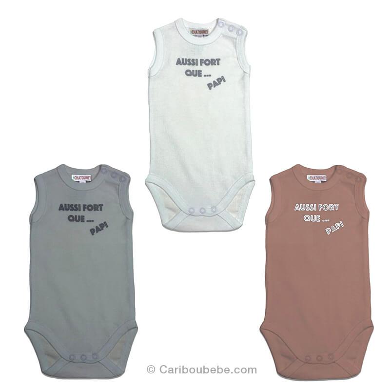 Body Coton x2 0-6M Manche Courte Papi (Blanc, Gris, Taupe) Les Chatounets Body Dors Bien