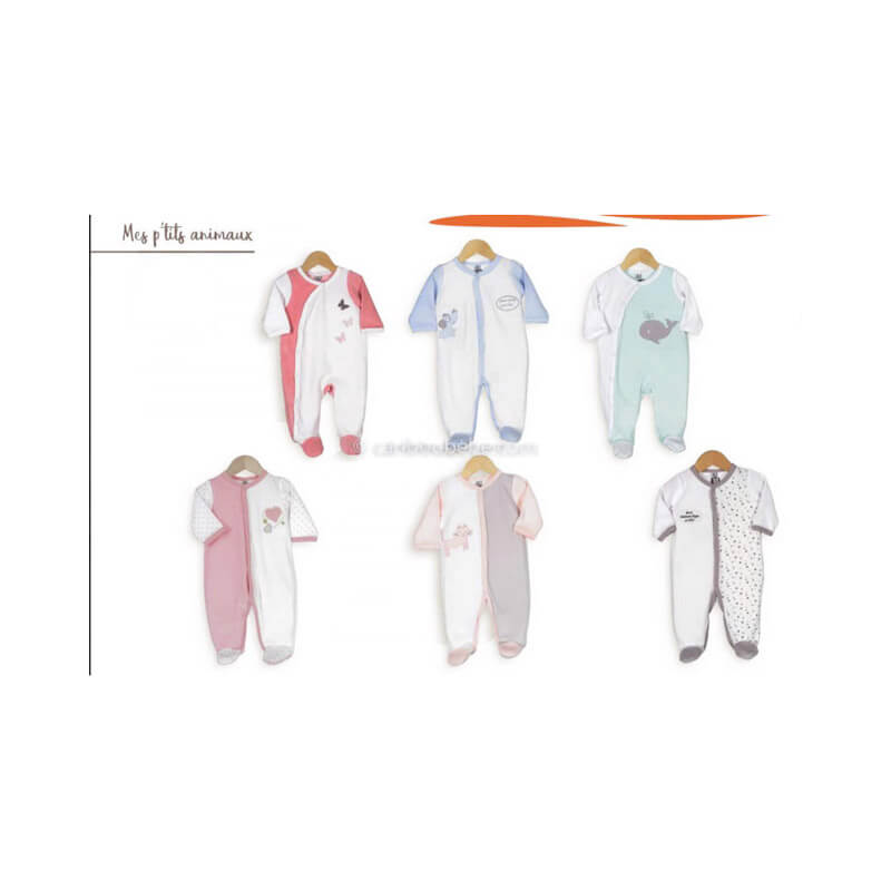 Pyjama x6 0M Mes Ptits Animaux Manche Longue Novatex Body
