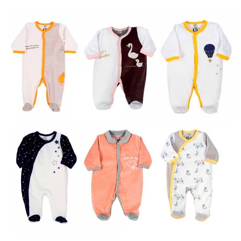 Pyjama x6 00-0-1-3-6M Le Voyage Enchanté Velours Manche Longue Novatex