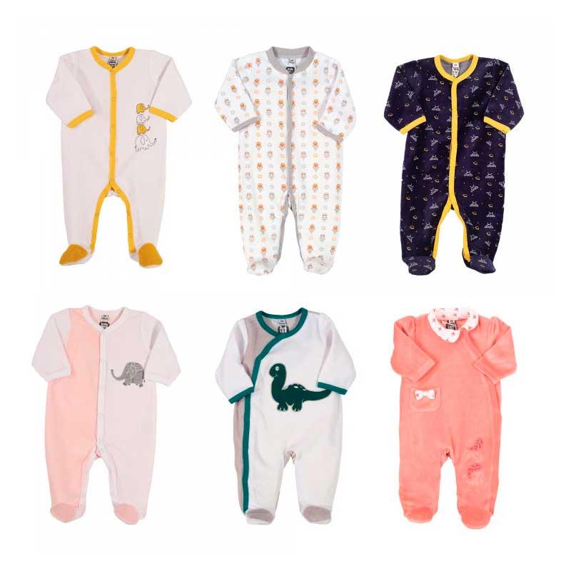 Pyjama x6 00-0-1-3-6M Mes Animaux Velours Manche Longue Novatex Body
