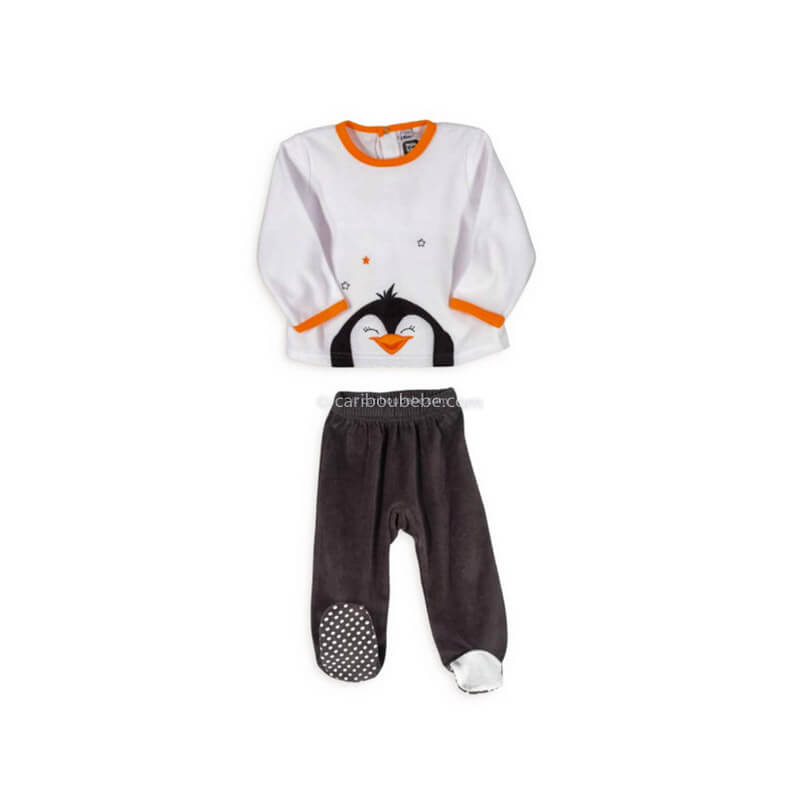 Pyjama 2 Pièces Velours Pingouin 6-23M Novatex Body