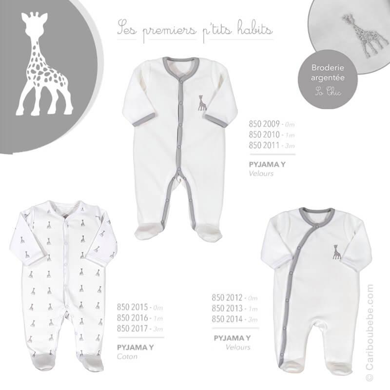Pyjama Y Coton ou Velours Fille Manche Longue Sophie La Girafe Mixte 0/1/3M Novatex