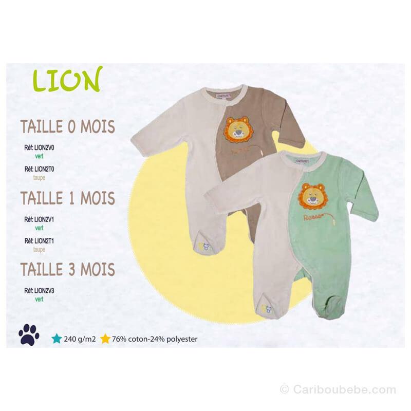 Pyjama Lion 0-1-3M Manche Longue Les Chatounets