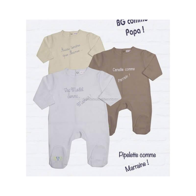 Pyjama Coton Interlock 0-1M Manche Longue Les Chatounets Body Dors Bien