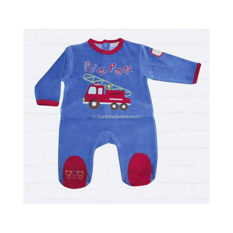 Pyjama PinPon Bleu 3-6-12-18-23M Manche Longue Les Chatounets Body Dors Bien