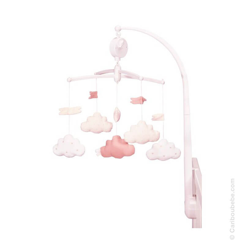 Mobile Rose Lily Poudrée Textile +0M Sauthon Baby Déco