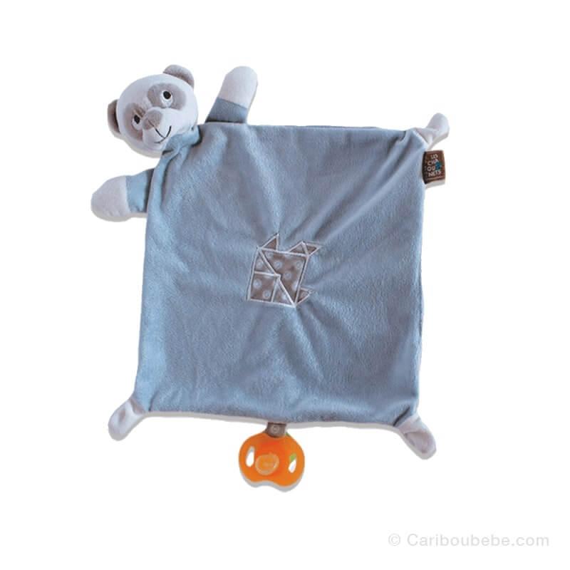 Doudou Mouchoir Panda Bleu 24x24cm Les Chatounets