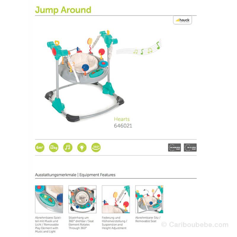 Trotteur Inversable Jump Around Hearts +6M à 12kg Hauck