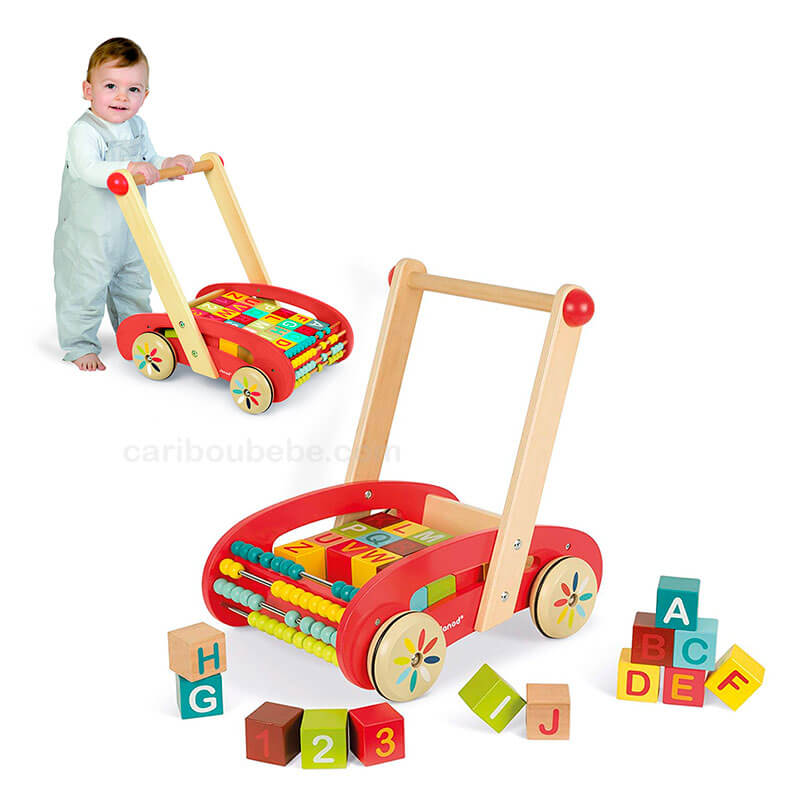 Chariot ABC Buggy Tatoo Bois + 30 Cubes 12M Janod