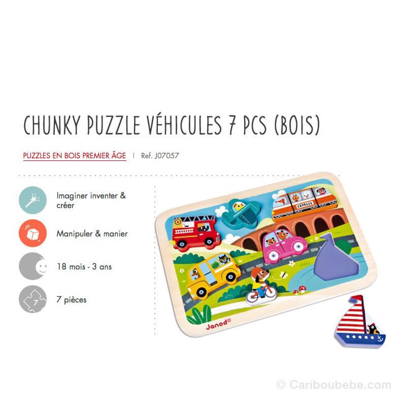 Puzzle Cruncky Véhicules 7Pcs en Bois 18M-3A Janod