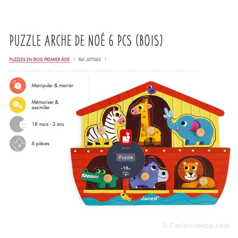 Puzzle Arche de Noé 6Pcs en Bois 18M-3A Janod