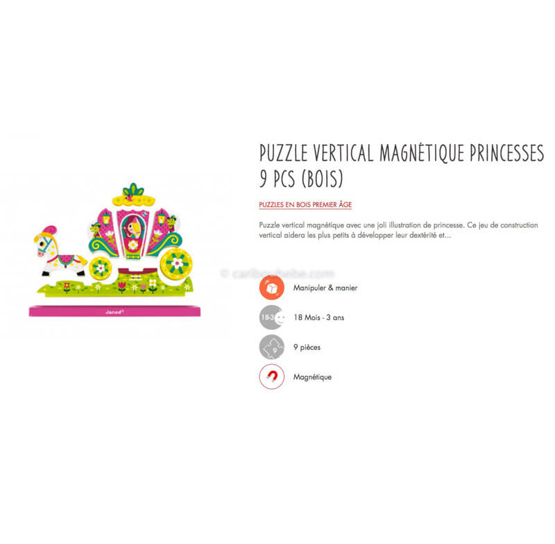 Puzzle Vertical Magnétique Princesses 9Pcs en Bois 18M Janod