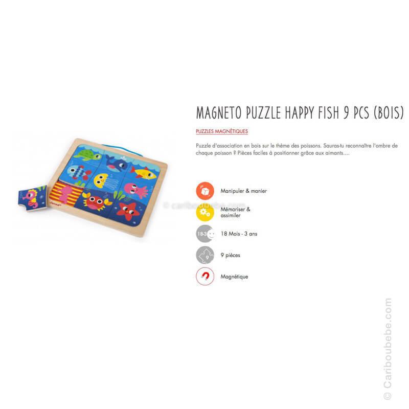 Magneto Puzzle Happy Fish 9Pcs en Bois 18M Janod
