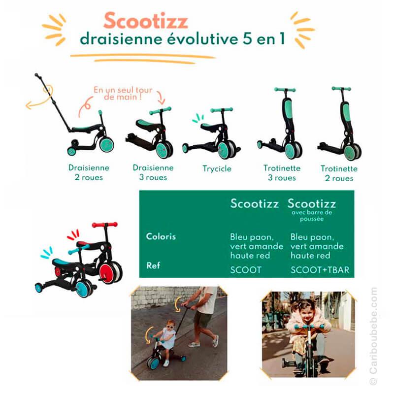 Draisienne, Tricycle, Trottinette 5en1 avec Barre de Poussée Scootizz 18M-10A Looping