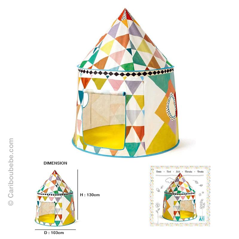 Tente Cabane Multicolore +2A Djeco